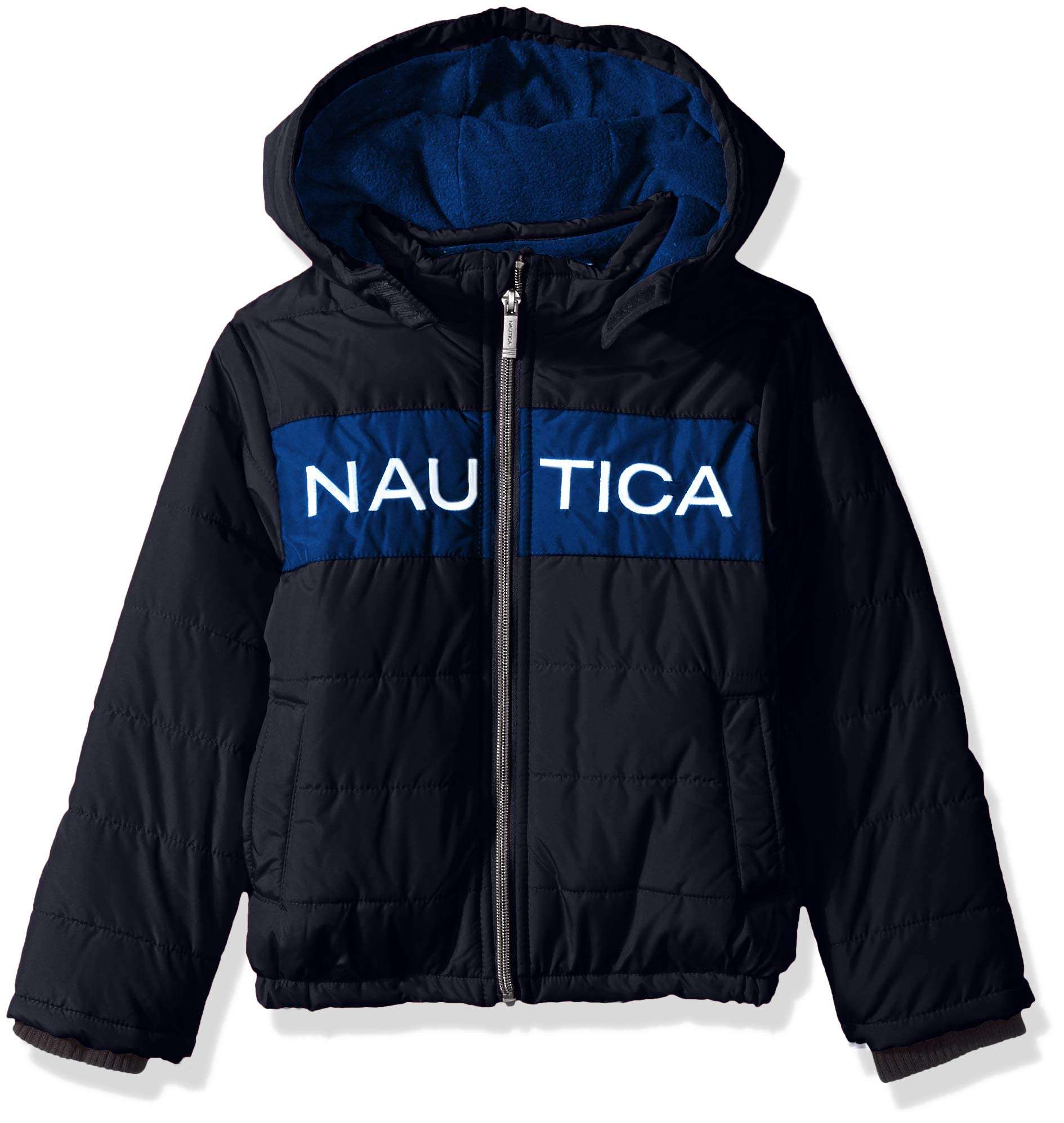 Nautica Boys' Little Water Resistant Signature Bubble Jacket with Storm Cuffs, Arthur Navy, Small (4)