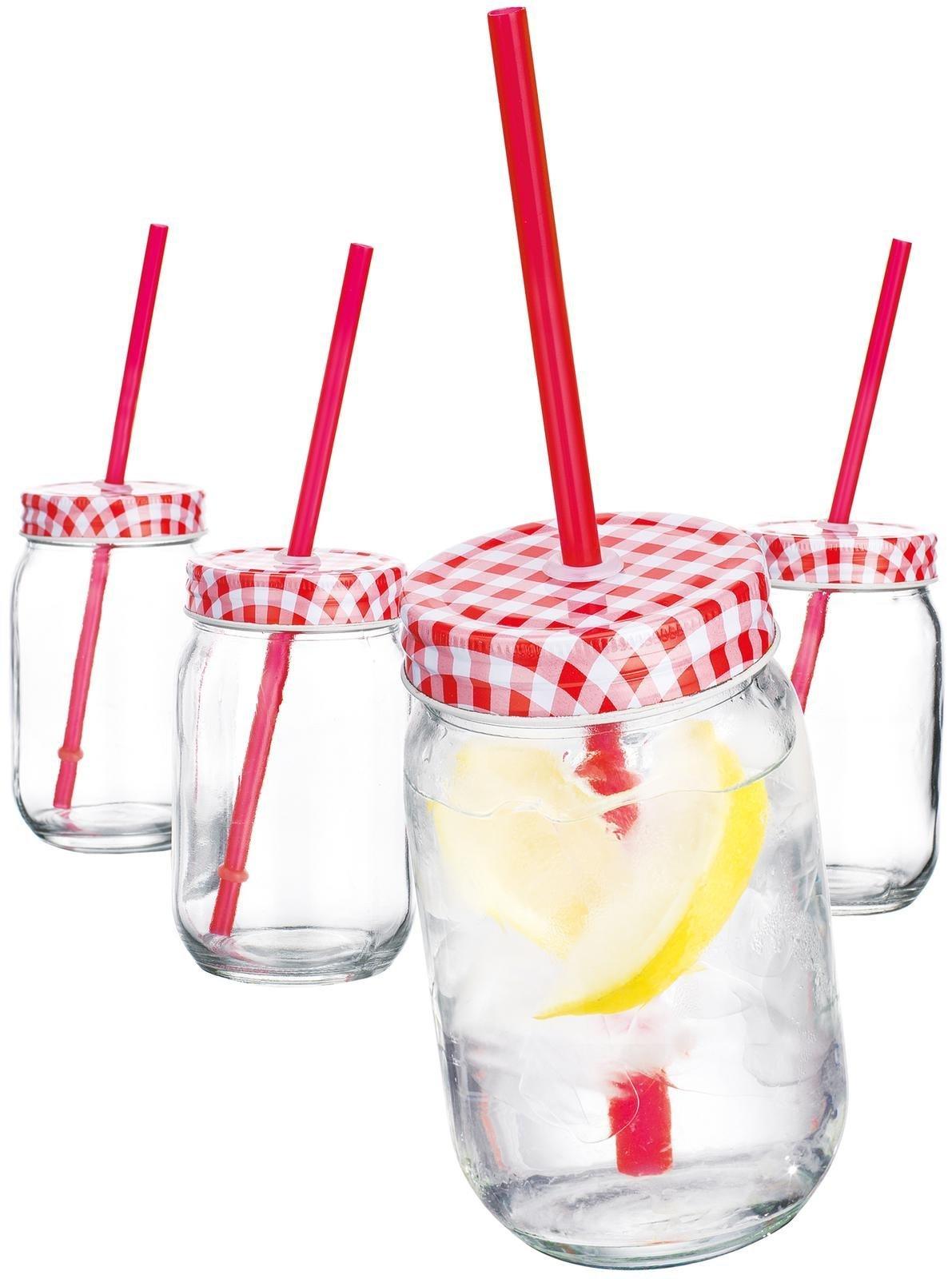Home Essentials Red Gingham 16oz Mason Jars w/Straw, Set of 4