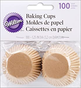 Wilton Unbleached Mini Baking Cups, 100 Count (415-1865),Brown