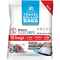 Travel Roll Up Bags - Pack of 10 (Large & Medium) | Roll-Up Compression Storage | Double Zipper, Reusable Space Saver Bags for Home Storage and Packing Organization - No Vacuum Pump Needed