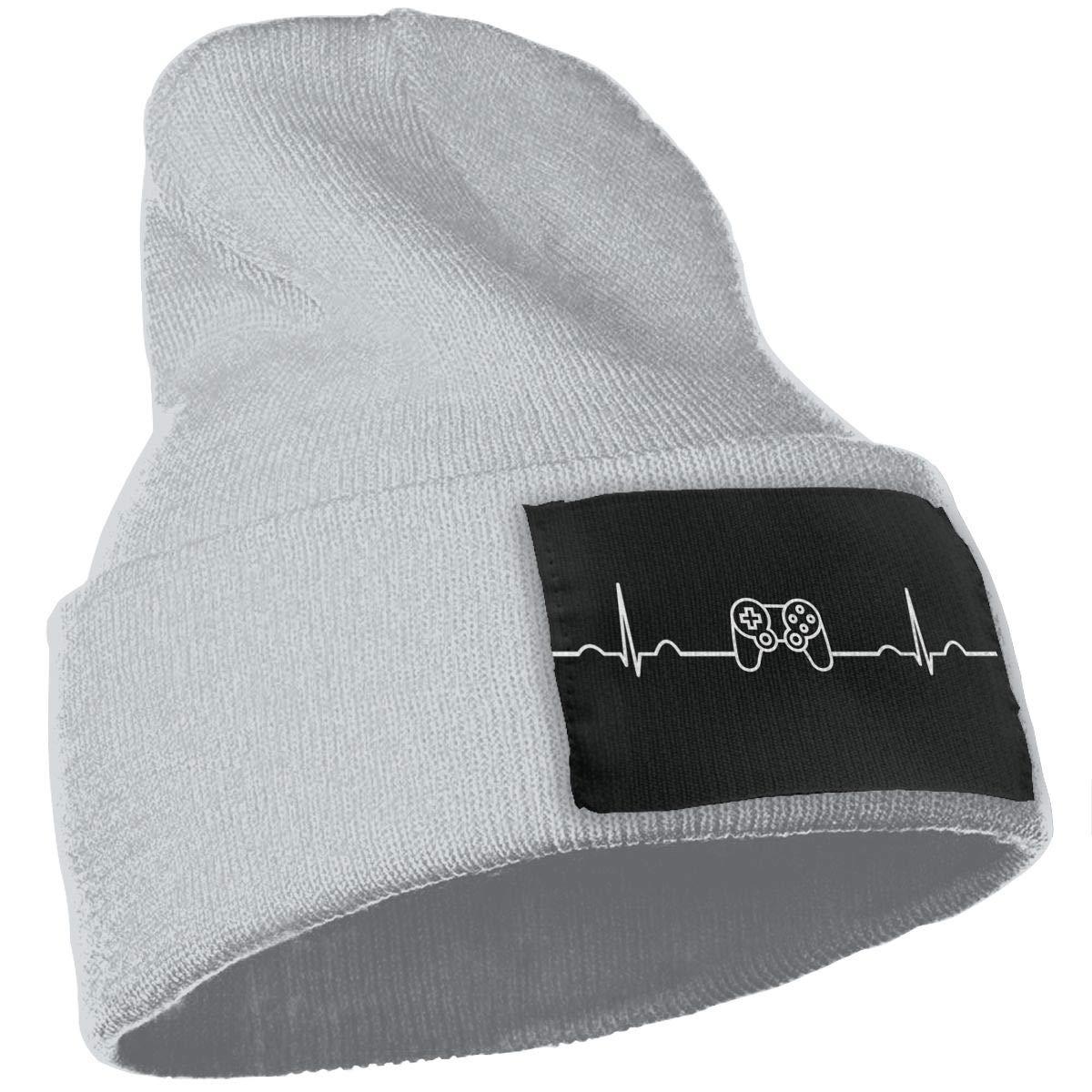 Gamer Heartbeat Warm Winter Hat Knit Beanie Skull Cap Cuff Beanie Hat Winter Hats for Men /& Women