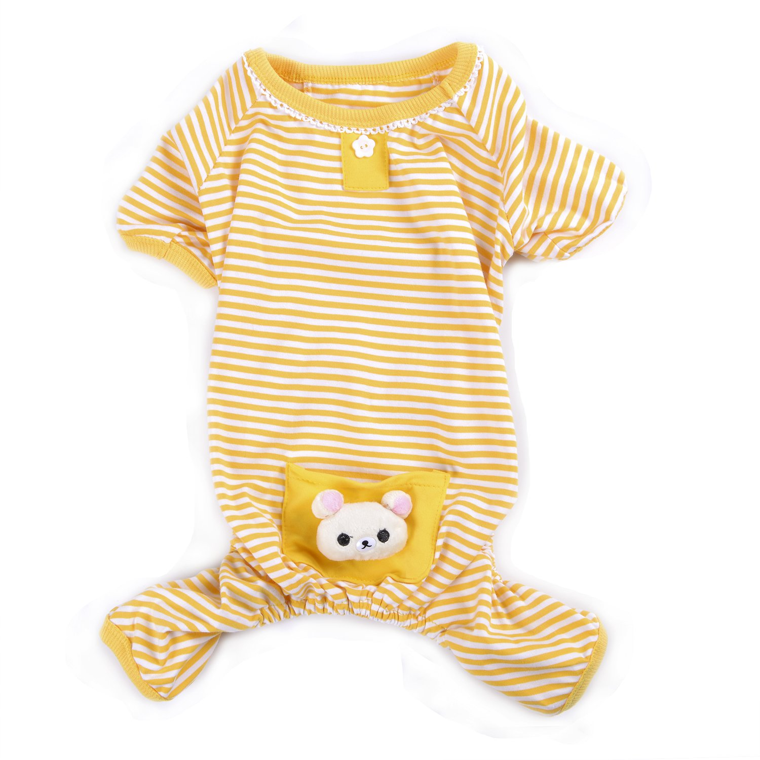 Woo Woo Pets Cute Animal Dog Cozy Pajams Dog Stripes Jumpsuit Pet Dog Clothes Yellow M