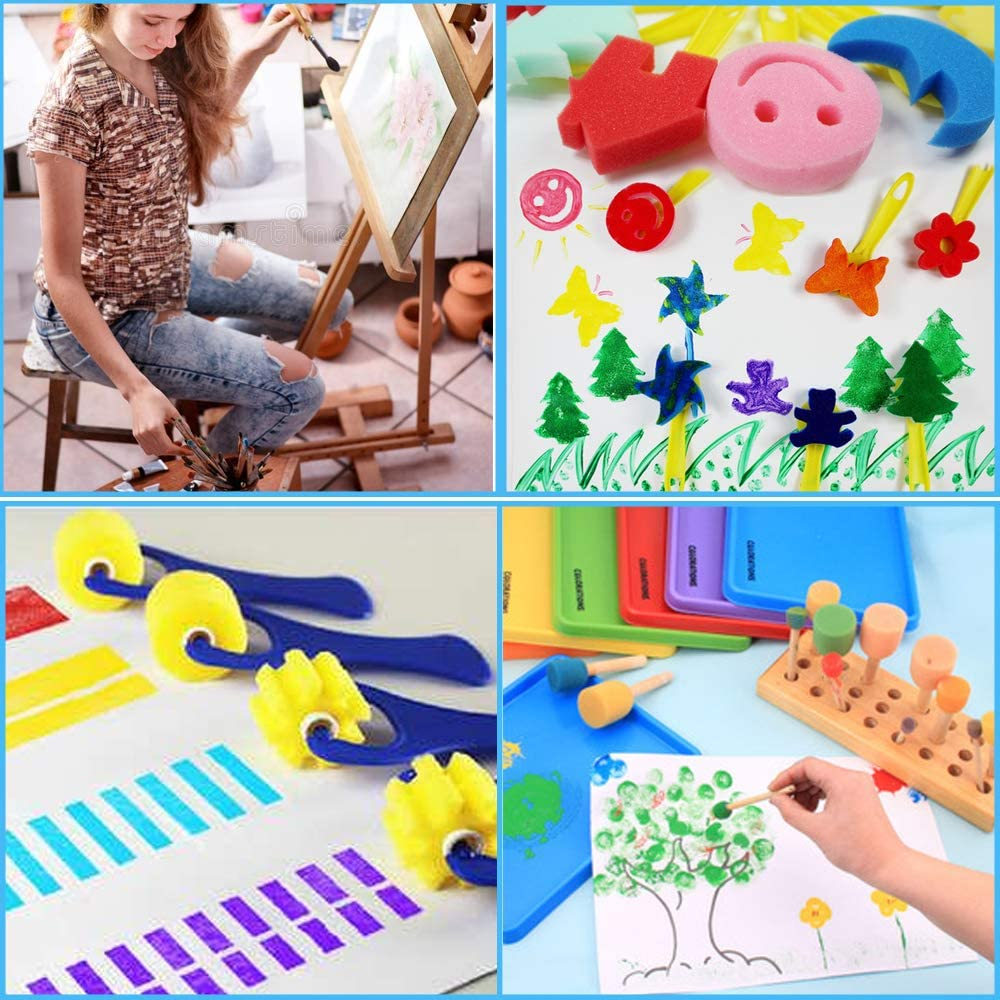 HOMKARE Kids Washable Paint Brushes Set Bundle with Washable Finger Paints 31 Pieces 6 Colors Assorted Painting Drawing Tools for Kids Toddlers and Paint Sponges Brushes