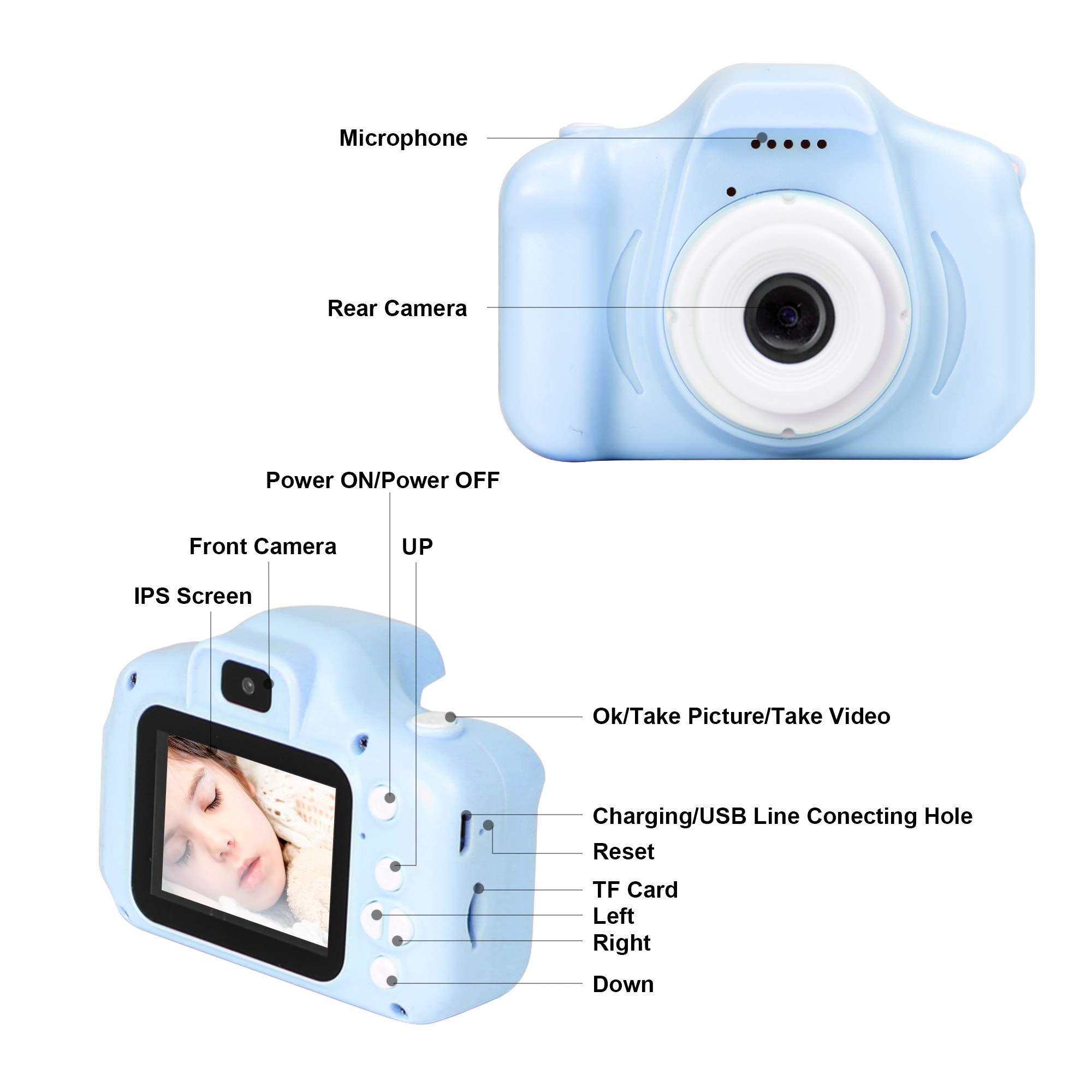 le-idea Kids Camera 1080P Dual 12MP Mini 2.0 inch IPS Display Shockproof Child Digital Selfie HD Camera Camcorder Gifts for 3-10 Year Old Girls & Boys Outdoor Play, Blue (32GB Memory Card Included) by le-idea (Image #7)