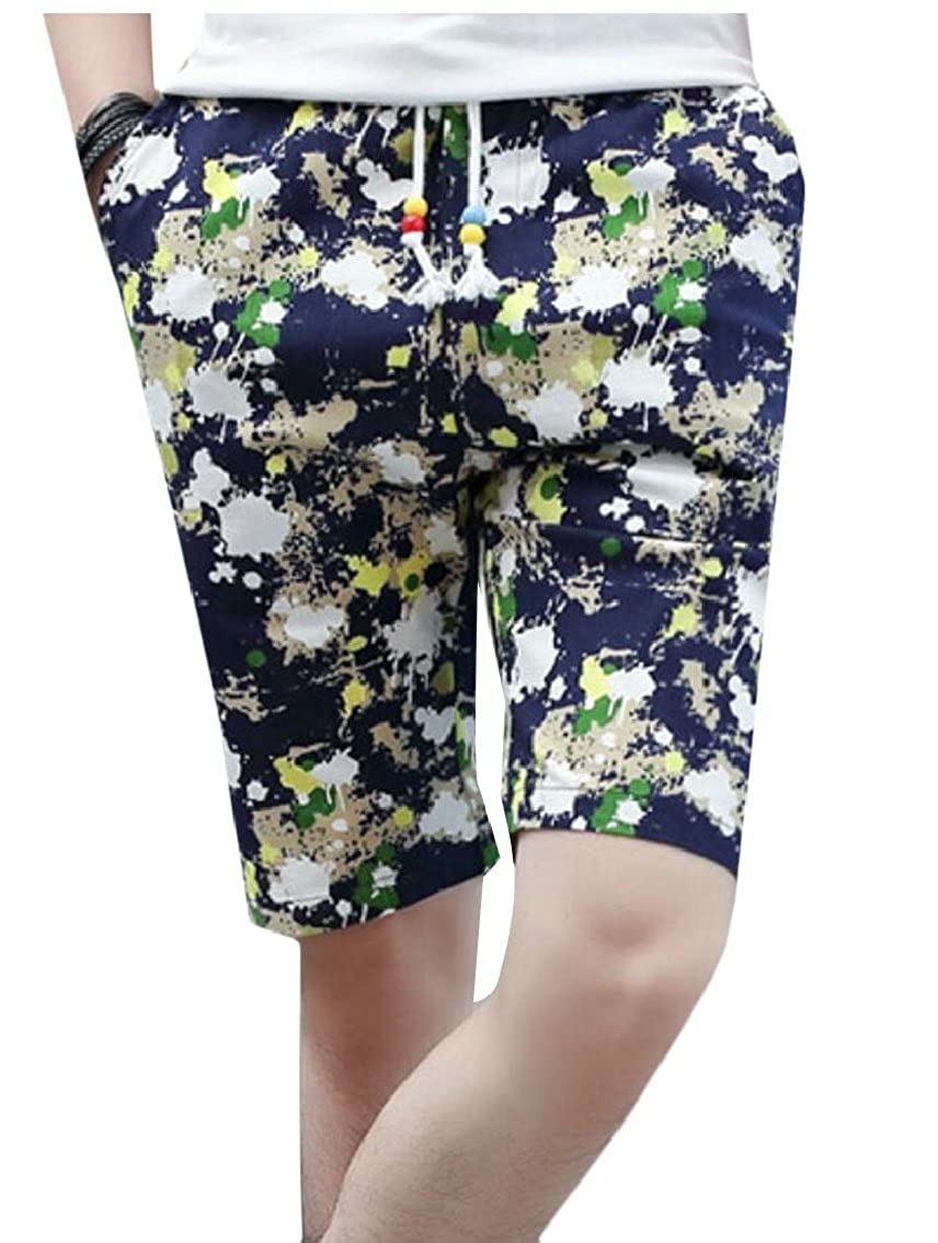 Yayu Mens Loose Cotton Linen Floral Elastic Waist Drawstring Beach Shorts