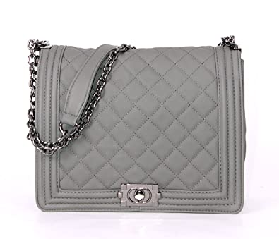 4a48f8b82d8c Chanel Designer Inspired Quilted Handbag with Metal Trims/Tote Bag (Taupe):  Amazon.co.uk: Shoes & Bags