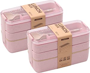 2 PACK Bento Box Japanese Lunch Box, 3-In-1 Compartment, Wheat Straw, Leak-proof Eco-Friendly Bento Lunch Box Meal Prep Containers for Kids and Adults (Pink)