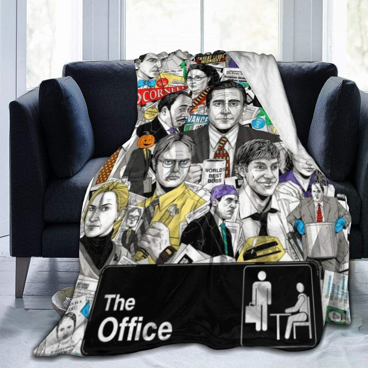 Kcoremia Dunder Mifflin The Office Ultra-Soft Micro Fleece Blanket 3D Printed Blanket Lightweight Throw for The Bed Quilt Super Soft Warm Blanket for Kids Adults Durable Comfortable Plush Blanket