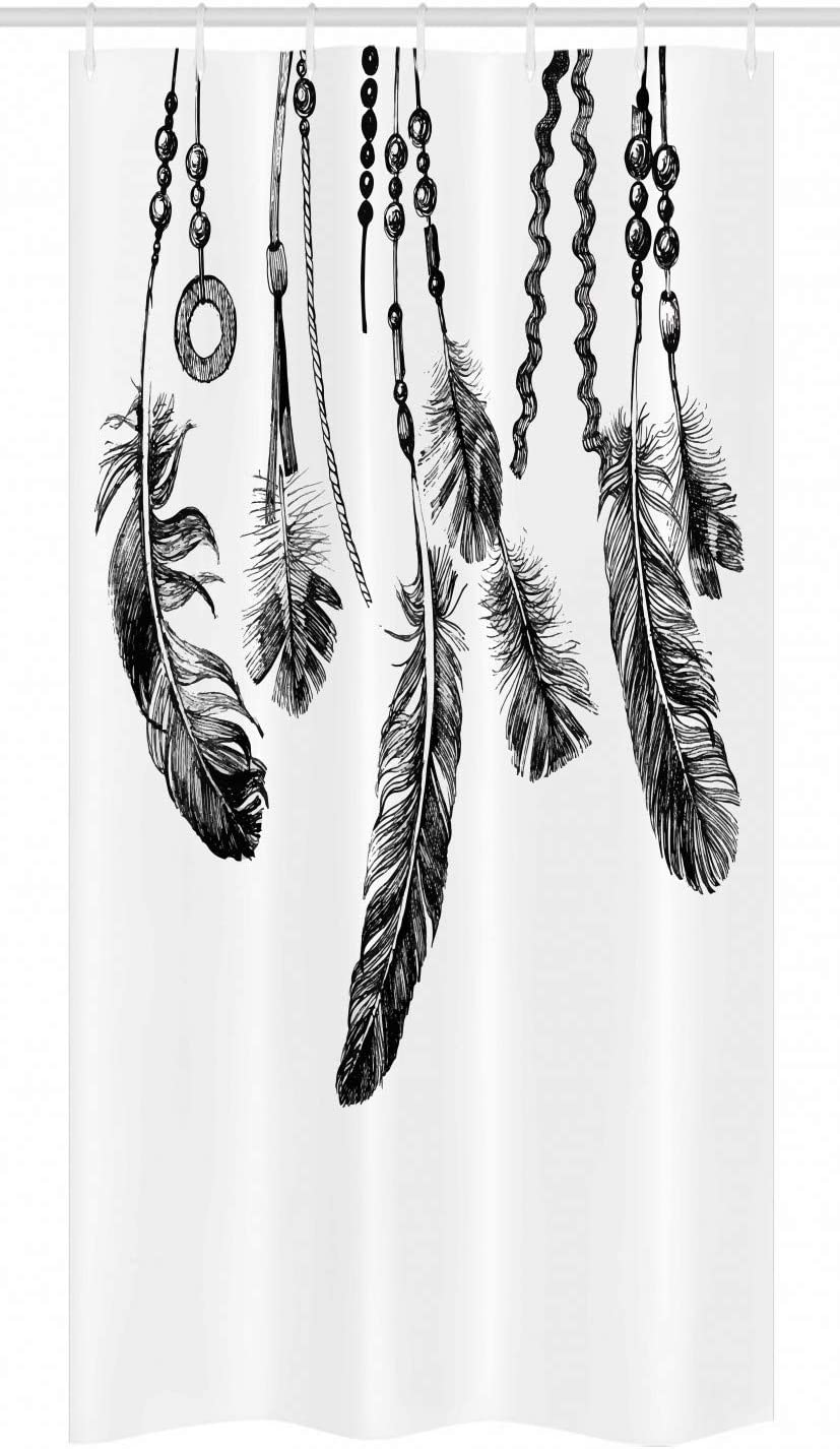 "Ambesonne Tribal Stall Shower Curtain, Tribal Feathers for Wisdom and Strength, Fabric Bathroom Decor Set with Hooks, 36"" X 72"", White Black"