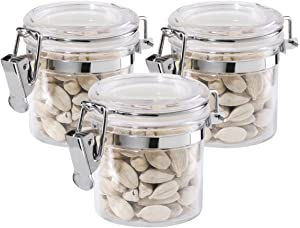 Oggi 3-Piece Mini Clear Acrylic Canisters with Locking Clamp