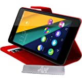 Etui Housse Luxe Rouge Stand et Portefeuille Wiko Pulp Fab 4G + STYLET et 3 FILM OFFERT!!
