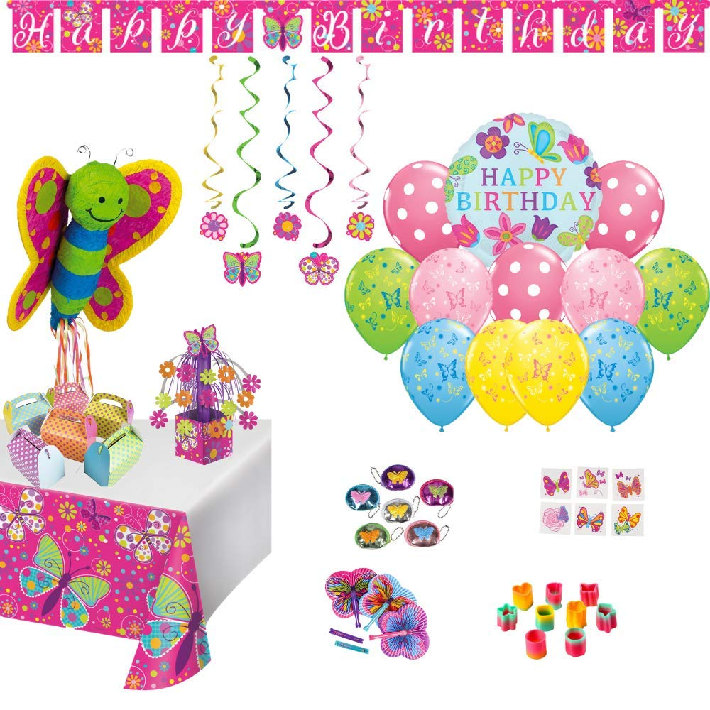Birthday Party Set :: Ya Otta Pull String Butterfly Pinata bundled with Butterfly Birthday Decorations, Toddler Favors and Polka Dot Treat boxes for 12 | eBook on Kids Birthday Party Games