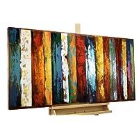 KunstLoft Stravagante metallo relief 3D Terza dimensione' 120x60x4cm | Decorazione parete XXL design fatta a mano | Astratto Strisce colorate | Quadro lussuoso scultura plastico murale