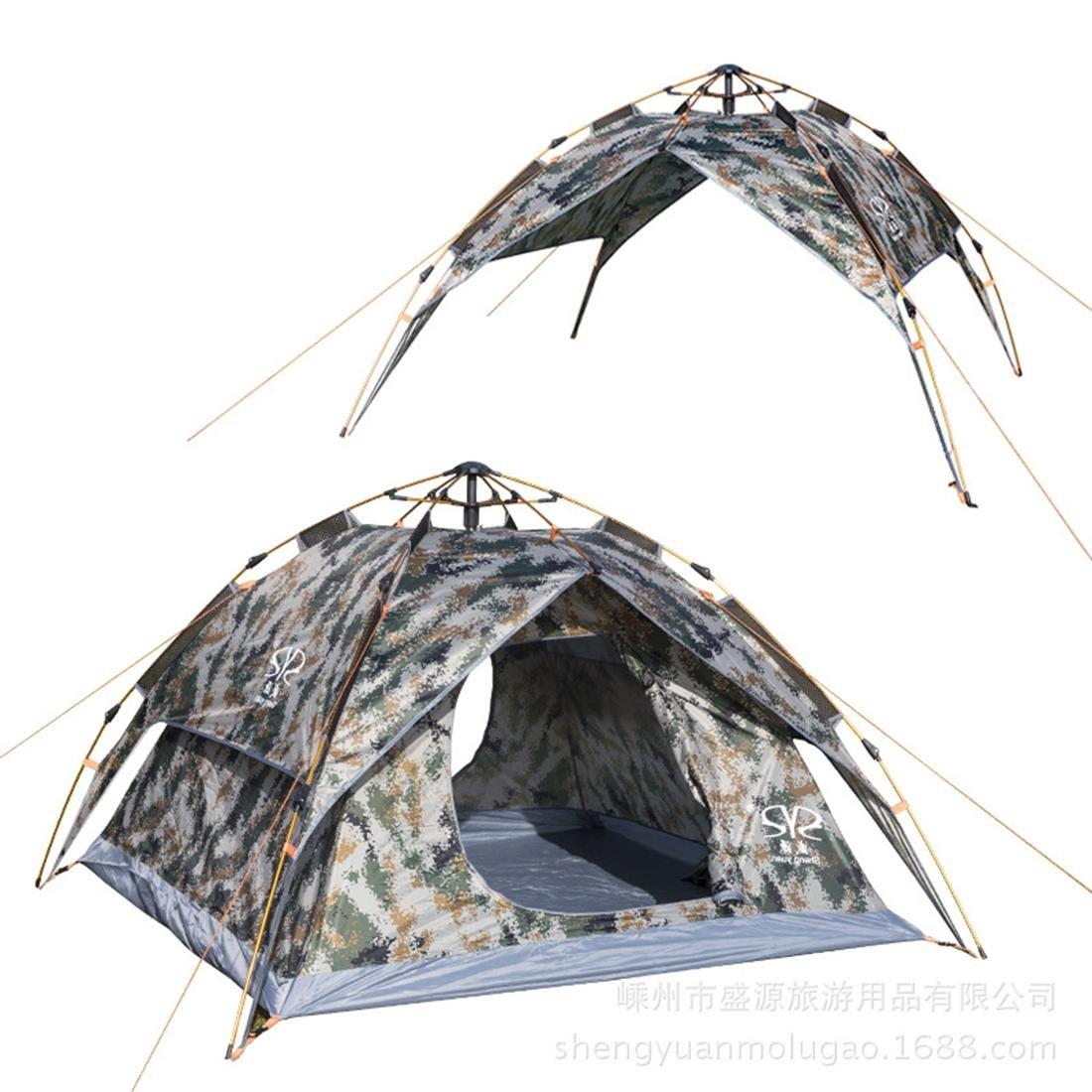 NIHE tente de tente de camouflage voyage escalade en plein air portable tente de camping de moustiques automatique de pluie peut accueillir 3-4 personnes