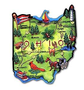 Ohio the Buckeye State Artwood Jumbo Fridge Magnet
