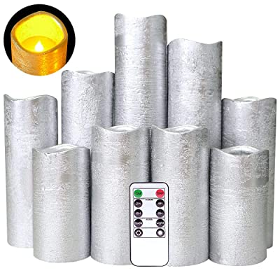 """DRomance Flameless Flickering Candles Battery Operated with Remote and Timer, Set of 9 Silver Coating Real Wax Warm Light LED Pillar Candles for Holiday, Christmas Decoration(Silver, 2.2""""D x 4""""-9""""H): Home Improvement"""