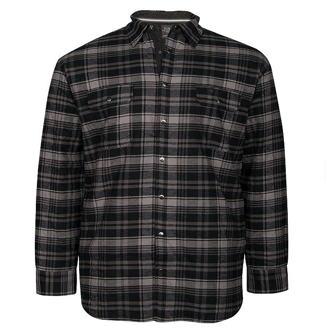 Kitaro Chaqueta de Camisa Gris-Negro a Cuadros Escoceses ...
