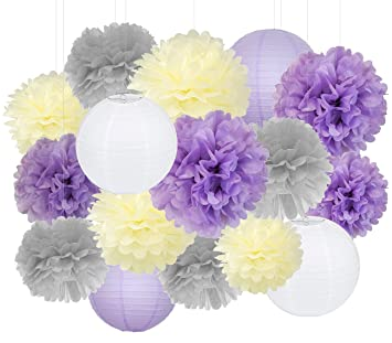 Purple Wedding Decorations | Amazon Com Furuix Purple Wedding Shower Decorations 16pcs Cream