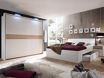 MILENA Komplett Schlafzimmer weiß/Eiche Sonoma: Amazon.de: Küche ...