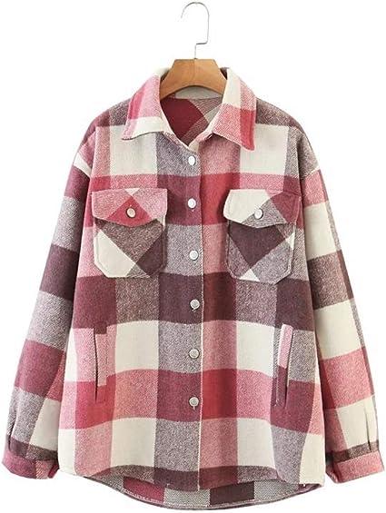 N/F Blusa de Lana a Cuadros de otoño para Mujer, Camisa de ...