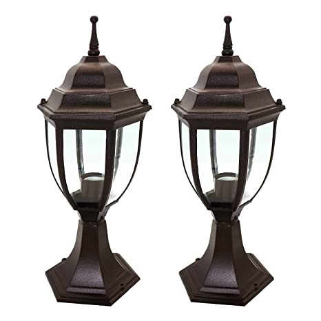 Ostwin 1 Light Outdoor Garden Post Lantern L04 Lighting Fixture Traditional Post Lamp Patio With One E26 Base Water Proof Bronze Cast Aluminum
