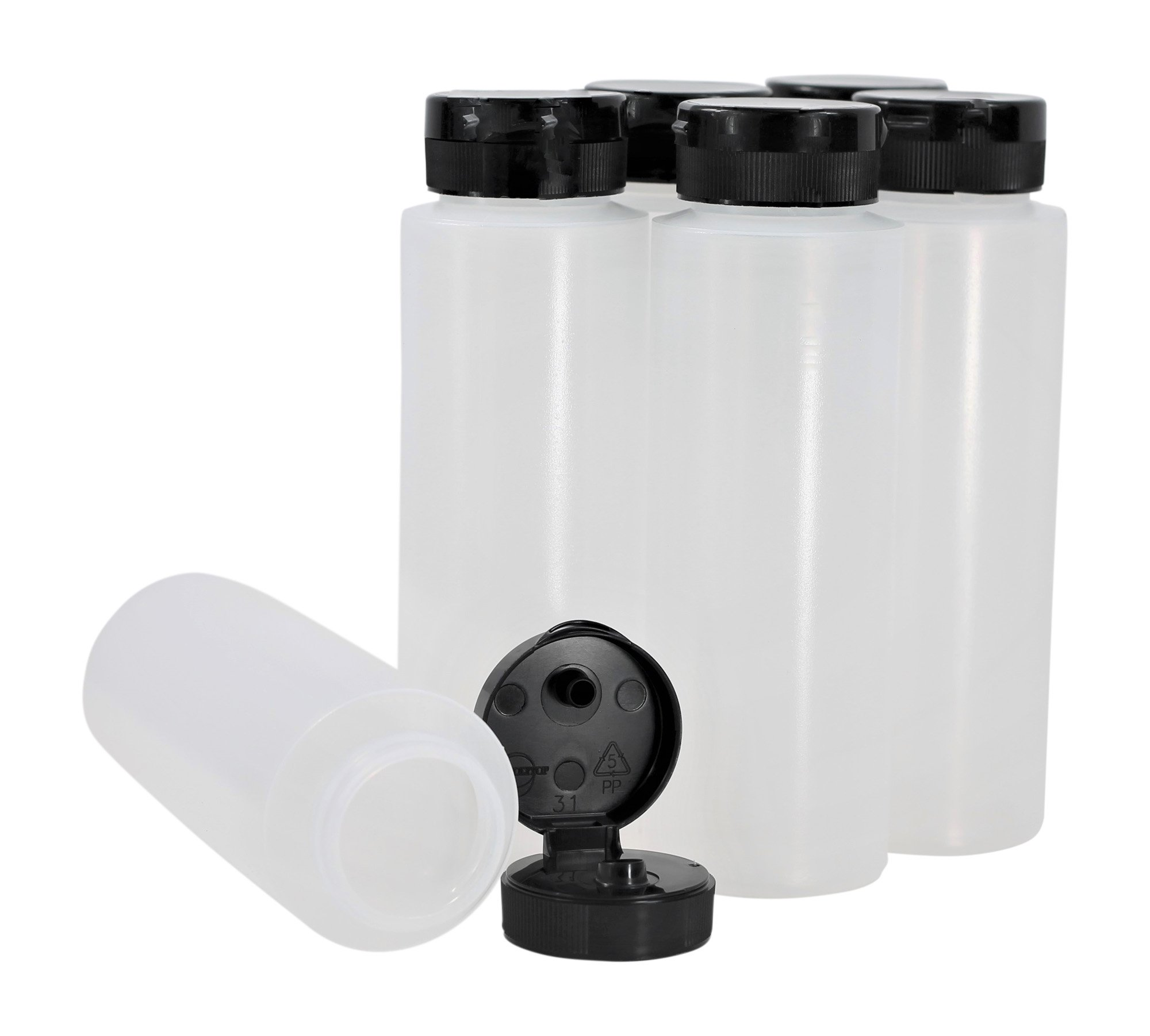 Pinnacle Mercantile Easy Squeeze Plastic Condiment Bottles with Flip Top Cap 8 oz Empty Set 6 by Pinnacle Mercantile