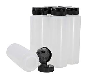 Pinnacle Mercantile Easy Squeeze Plastic Condiment Bottles with Flip Top Cap 8 oz Empty Set 6