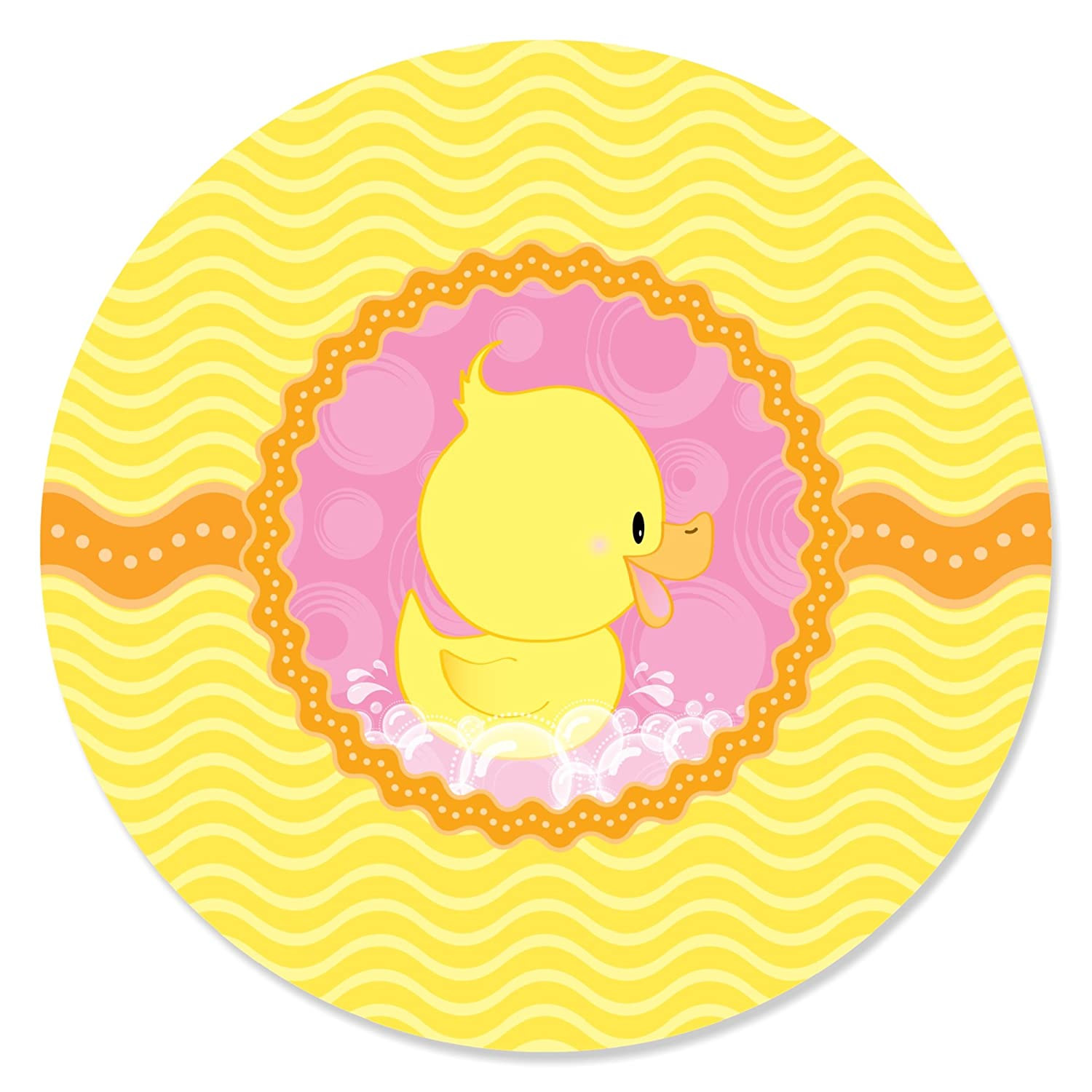 12 Count Cupcake Picks with Stickers Pink Ducky Duck Girl Baby Shower or Birthday Party Cupcake Toppers