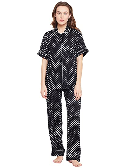 Chill Winston Black Color Polka Dot Printed Cotton NightWear For Women   Amazon.in  Clothing   Accessories 63d4d7f7e