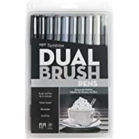 Tombow Dual Brush Pen Art Markers, Grayscale, 10-Pack