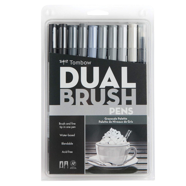 Pennarelli Tombow Dual Brush Pen Set 10/Pkg-grigio scala