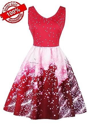 7f37e502949d Botomi Womens Dresses Plus Size Cocktail Christmas Sleeveless Swing 1950s Retro  Vintage Rockabilly Xmas Party Dress: Amazon.co.uk: Clothing