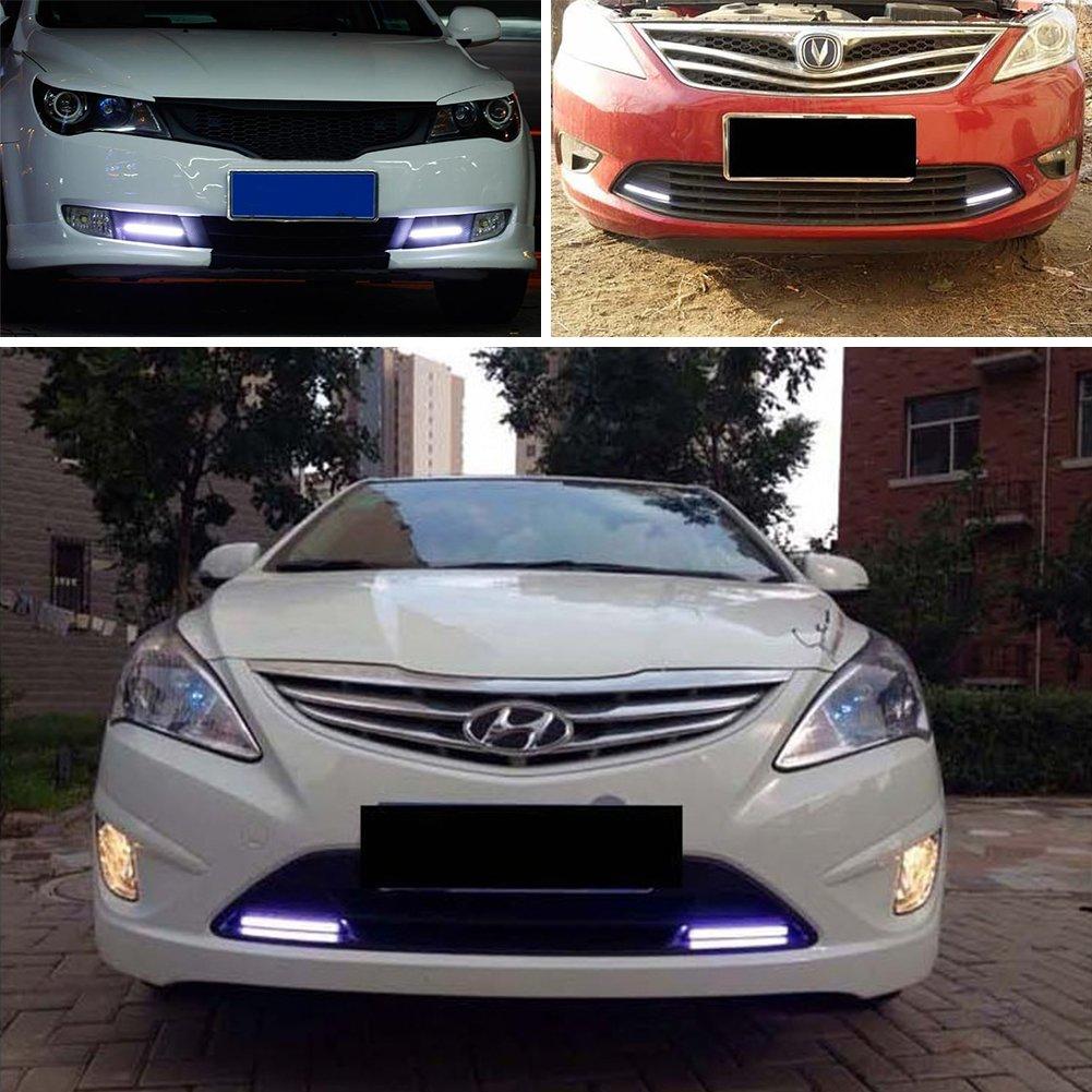Taben 2PCS impermeabile auto COB LED 12/V alta potenza bianco DRL nebbia guida lampada