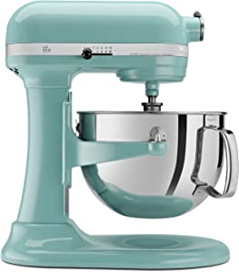 Kitchenaid Professional 600 Stand Mixer 6 quart, Aqua Sky (Renewed)