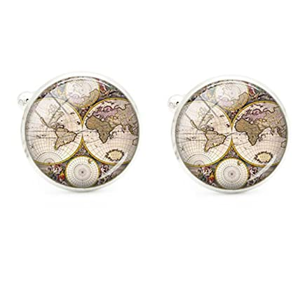1 pair world map cufflinks silver plated world map cuff links for 1 pair world map cufflinks silver plated world map cuff links for men women vintage round gumiabroncs Image collections