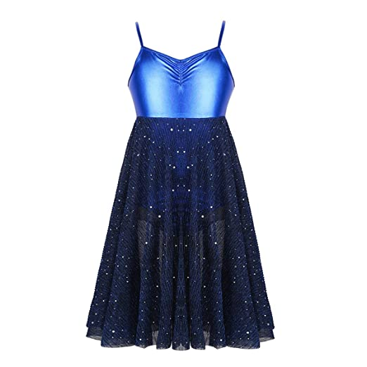 6af5c2c48441 Agoky Girls Glossy Spaghetti Ballet Dance Dress Child Lyrical Gymnastics  Ballroom Leotard Dancing Costumes Blue 4