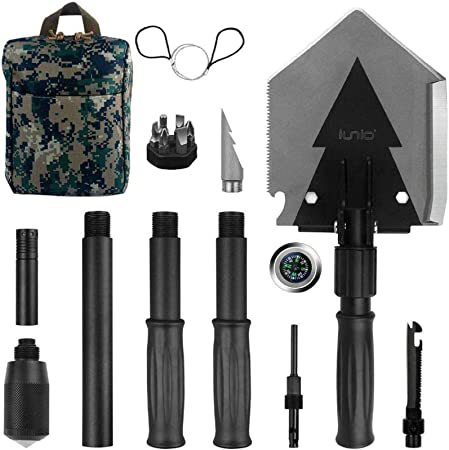 Amazon Com Iunio Folding Shovel Survival Multitool Foldable Entrenching Tool Portable Collapsible Spade Off Roading E Tool Kit For Camping Backpacking Trenching Car Emergency Garden Outdoor