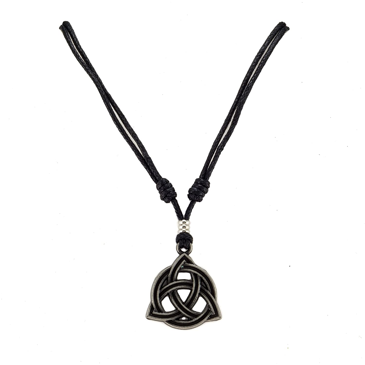 Metal Celtic Trinity Knot Triquetra Pendant on Adjustable Black Rope Cord Necklace W BlueRica UK_B0761XJ2JX