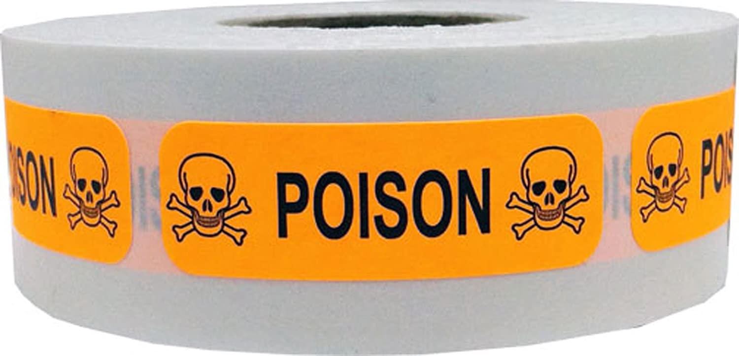 Fluorescent Orange with Black Poison Stickers, 0.5 x 1.5 Inches in Size, 500 Labels on a Roll