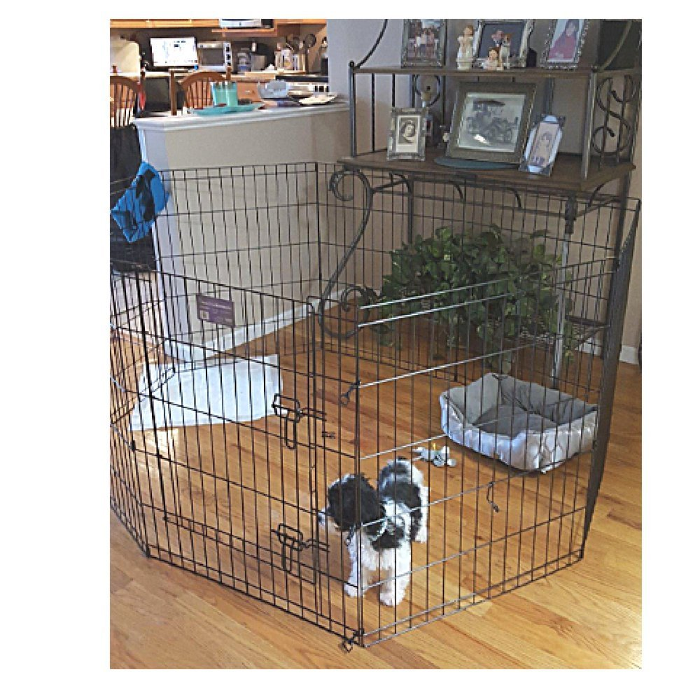 Canine Exercise Pen Door Playpen 30in Tall Outdoor Heavy Duty Dog Kennel Crate Folding Cage Portable & eBook OISTRIA