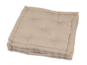 Homescapes Coussin De Chaise Couleur Beige Fait En 100 Coton 50x50 Cm Pour