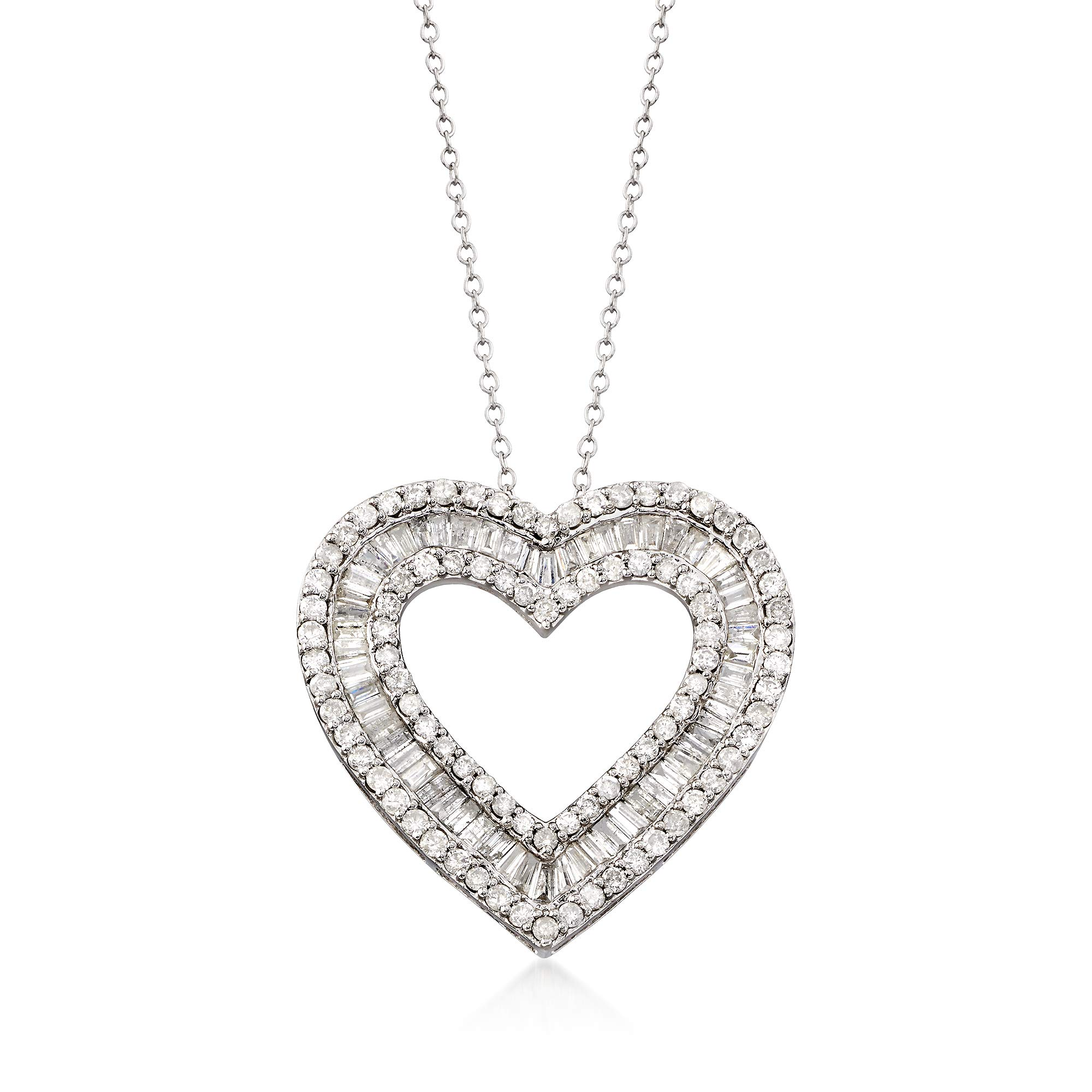 Ross-Simons 3.00 ct. t.w. Diamond Heart Pendant Necklace in Sterling Silver