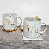 Tergi Mr and Mrs Ceramic Coffee Mugs Set of 2, Gold and Marble Coffee Tea Cups 11.5 oz with A Gift Box, For Parents, Anniversary, Mom and Dad, Couples