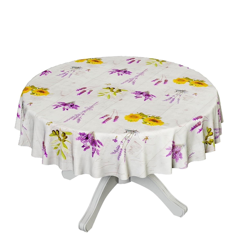 ANRO tovaglia di plastica tela cerata tovaglia di tela cerata lavabile Tovaglia Lavanda provanc Taglia a scelta, asciugamani, Mit Muster, Rund 100cm