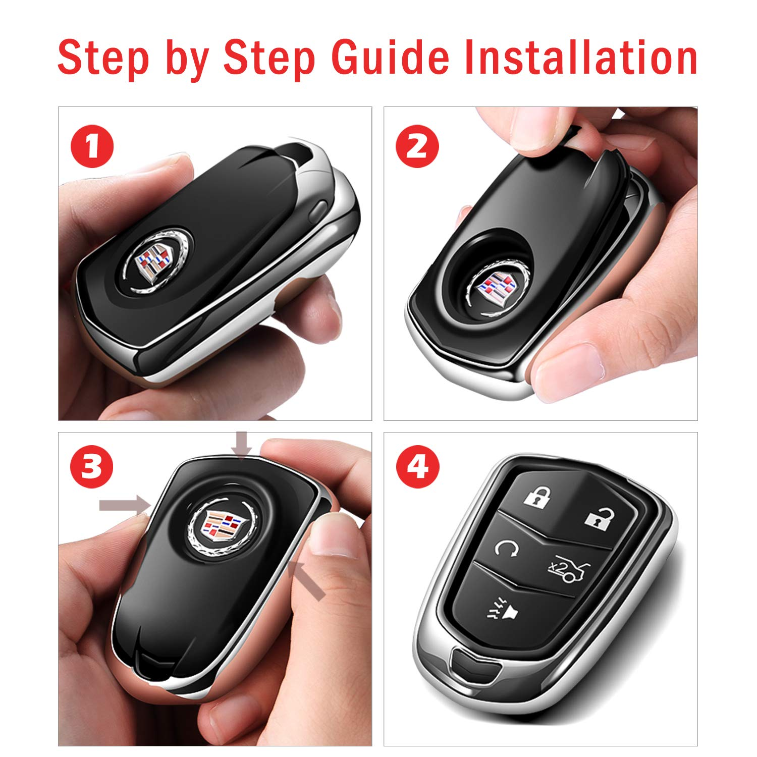 and CT6, Intermerge for Cadillac Key Fob Cover SRX Silver,5-Buttons CTS Premium Soft TPU 360 Degree Full Protection Key Fob Casel Compatible with 2015-2019 Cadillac Escalade XT5 STS ATS
