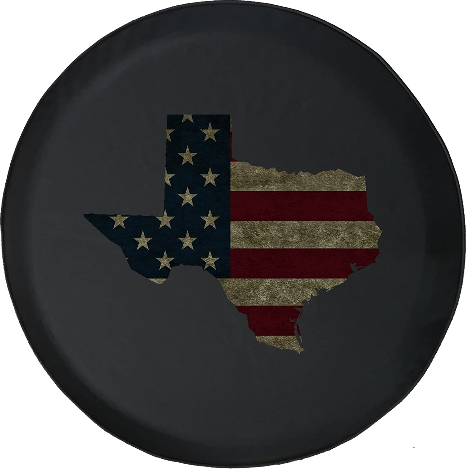 556 Gear Texas Distressed American Flag Jeep RV Spare Tire Cover Black 32 in