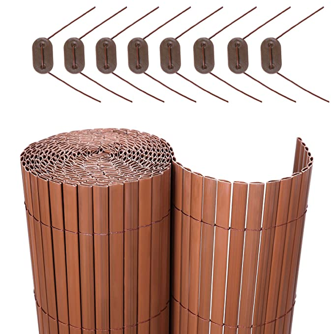 SONGMICS PVC Sichtschutzmatte Braun (180 x 500 cm) Sichtschutz für Garten Balkon und Terrasse GPF185BV1