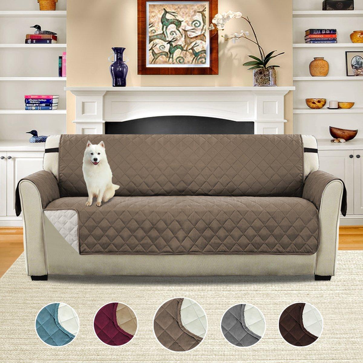 Reversible Furniture Protector Single Diamond Taupe Beige Sofa