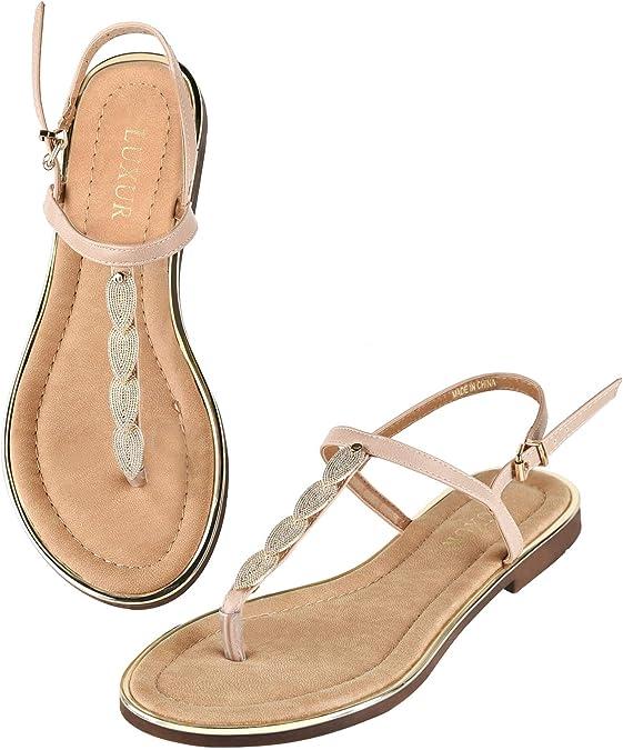 LUXUR Women's T-Strap Buckle Flat Thong Sandals