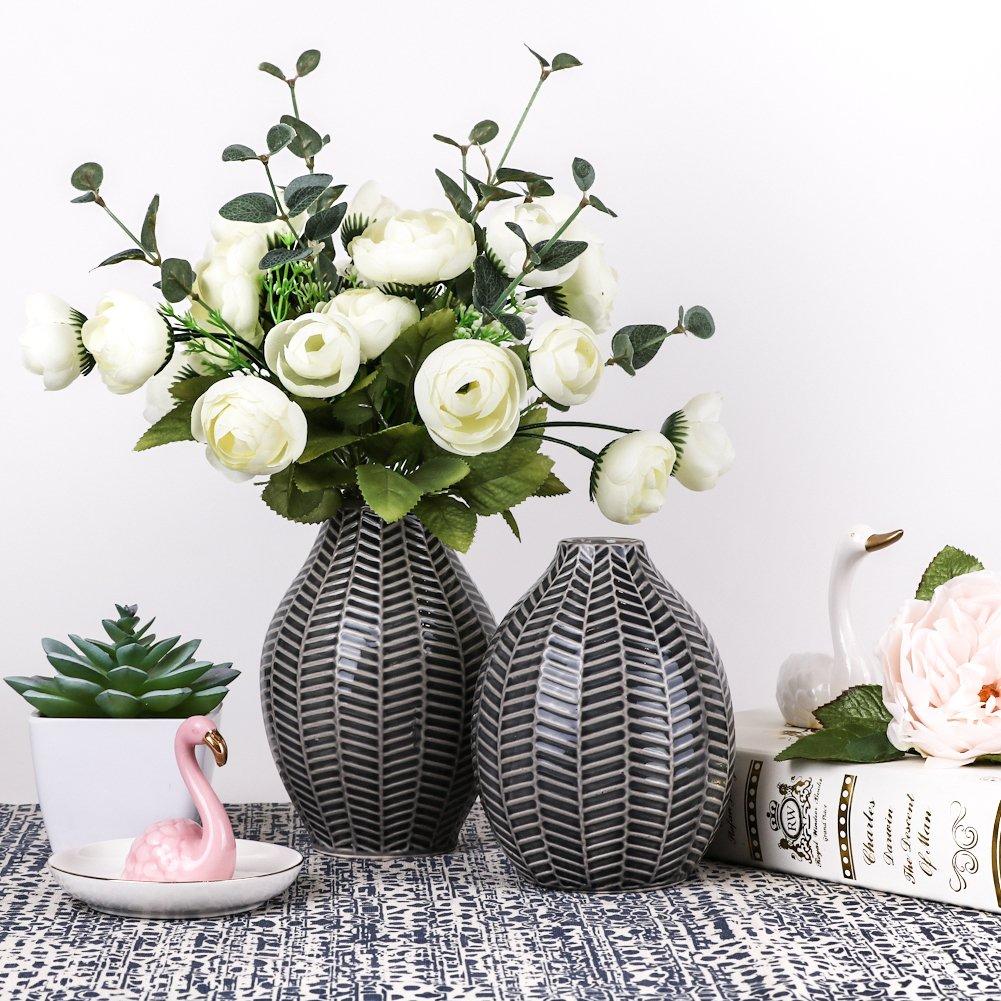 Hannahs Cottage Keramik Vasen, Keramikvasenset 2er Set Grau Handmade  Moderne Deko Vase Für Wohnzimmer, Küche, Tisch, ...